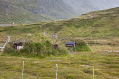 Norwegian typical grass roof country house Royalty Free Stock Images