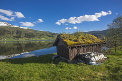 Norwegian typical grass roof country house Stock Photography