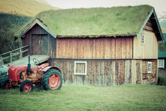 Norwegian typical grass roof country house Stock Images