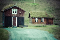 Norwegian typical grass roof country house Royalty Free Stock Photography
