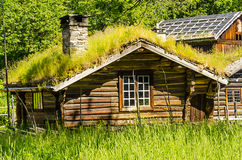 Norwegian typical  roof country house Royalty Free Stock Photos