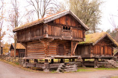 Norwegian typical wooden house royalty free stock photos