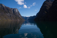 Norwegian UNESCO fiord with reflections Stock Images