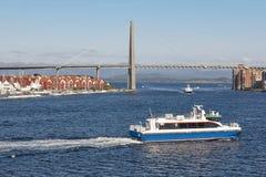 Norwegian urban landscape. Stavanger city bridge and marina. Nor Stock Photography