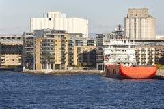 Norwegian urban landscape. Stavanger harbor and marina. Norway Royalty Free Stock Photo