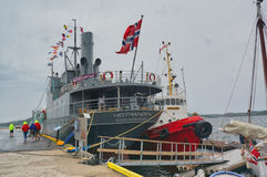 Norwegian veteran ship moored at the marina Stock Photos