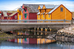 Norwegian village with colorful wooden houses Stock Images