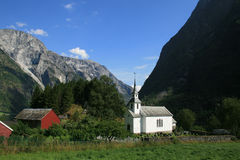 Norwegian village in Fjord area. Royalty Free Stock Photo