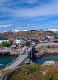 Norwegian village on island Skrova Royalty Free Stock Photos