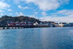 Norwegian village on the islands Stock Photo