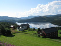 Norwegian village. The village on the like in Norway Royalty Free Stock Photography