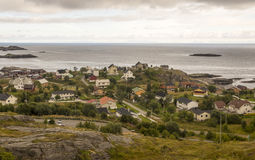 Norwegian village by the sea Stock Photos