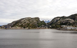 Norwegian village by the sea Royalty Free Stock Photo