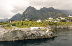 Norwegian village by the sea Stock Photo