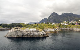 Norwegian village by the sea Stock Image