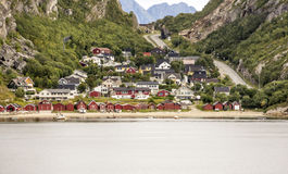 Norwegian village by the sea Royalty Free Stock Images