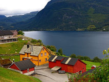Norwegian village Stock Images