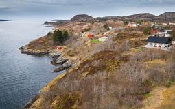 Norwegian village with wooden houses Royalty Free Stock Image