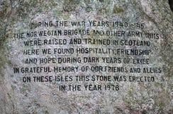 Norwegian War Memorial Stone in Edinburgh Stock Image