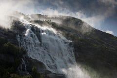Norwegian waterfall Langfoss Akrafjorden Stock Photos