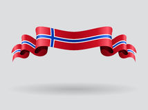 Norwegian wavy flag. Vector illustration. Royalty Free Stock Images