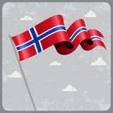 Norwegian wavy flag. Vector illustration. Royalty Free Stock Photo