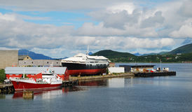 Norwegian wharf on the fjord Stock Images