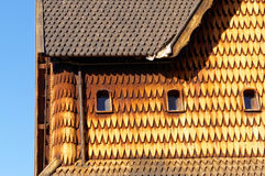 Norwegian windows in stave church Royalty Free Stock Image