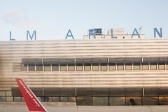 Norwegian wing on arrival to Stockholm, Arlanda. STOCKHOLM ARLANDA, SWEDEN - SEPTEMBER 6, 2018: Norwegian wing on arrival to Stockholm, Arlanda on a sunny day on royalty free stock photos