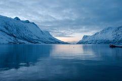Norwegian winter landscape. Beautiful winter landscape with Norwegian fjords Stock Image