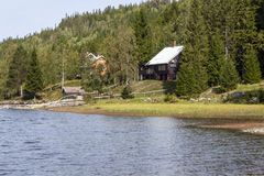 Norwegian Wooden Cabins royalty free stock photography