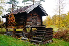 Norwegian wooden farm house for food. Norwegian wooden farm buidlings from 18. century. View of the Heddal bygdetun, is a Heddal Open Air Museum with various Stock Photo