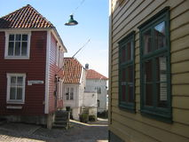 Colored Norwegian wooden houses in Bergen, Norway  Royalty Free Stock Images