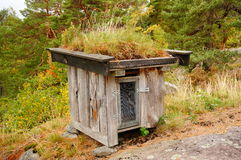 Norwegian wooden trash house , Norway Stock Photo
