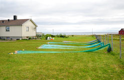 Norwegian yard with small house and fishing nets. Stock Images