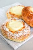 Norwegian buns-Skoleboller. These are Norwegian yeast rolls with baked custard, icing sugar and coconut flakes royalty free stock photos