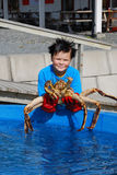 Norwegian youthful fisher with an alive king crab Stock Photography