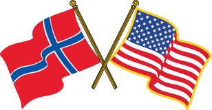 Norwegische amerikanische Flaggen Lizenzfreie Stockfotos