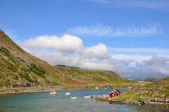Norwegische Ansicht wenig Hafen stockfotografie