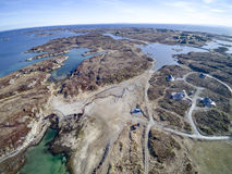 Norwegische Archipelvogelperspektive, Brummenansicht Lizenzfreies Stockfoto