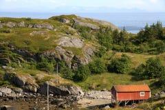 Norwegische Fischenhütte Stockbild