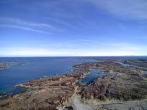 Norwegische Inselkettenvogelperspektive, Brummenansicht Stockfoto
