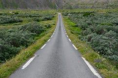 Norwegische Straße in der Nähe von Hamningberg stockbild