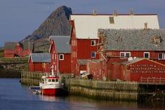 Norwegischer Fischereihafen stockbilder