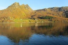 Norwegischer Fjord in den Herbstfarben stockbilder
