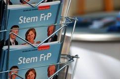 Norwegischer Kampagnenstand der Fortschritts-Partei (FrP) Stockfotografie
