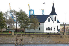 Norwegischer Kirche-Cardiff-Schacht Stockfoto