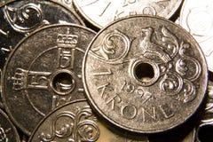 Norwegischer Münzenstapel stockbilder