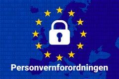 Norwegischer Text, englische Übersetzung - GDPR - allgemeine Daten-Schutz-Regelung lizenzfreie abbildung
