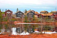 Norwegisches Dorf Stockfoto